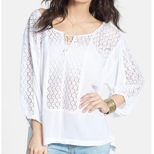 Free People Boho Lace Inset Peasant Blouse